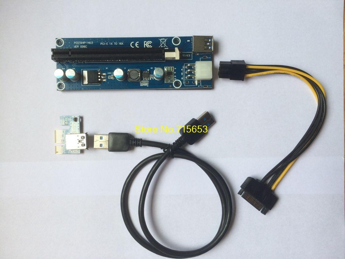 Freeshipping 10 Sets/Lot PCI-E PCI E Express 1X to 16X card Riser Card USB 3.0 Extender Cable with Power Supply for Bitcoin Litecoin Miner