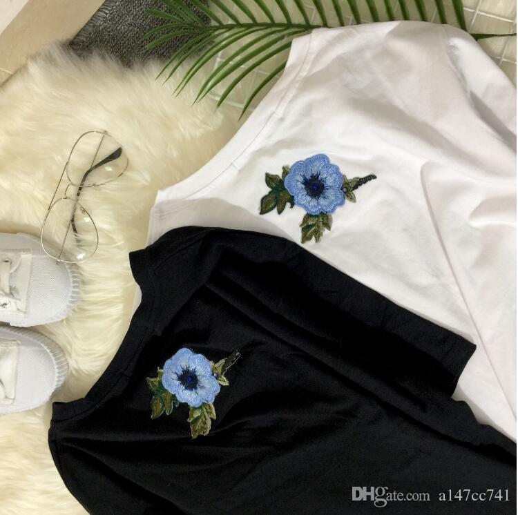 T-shirt Frauen Paare Kleidung T-shirt 2017 Sommer Kurzarm Weibliche Stickerei Rose t-shirt harajuk Tops t-shirt femme