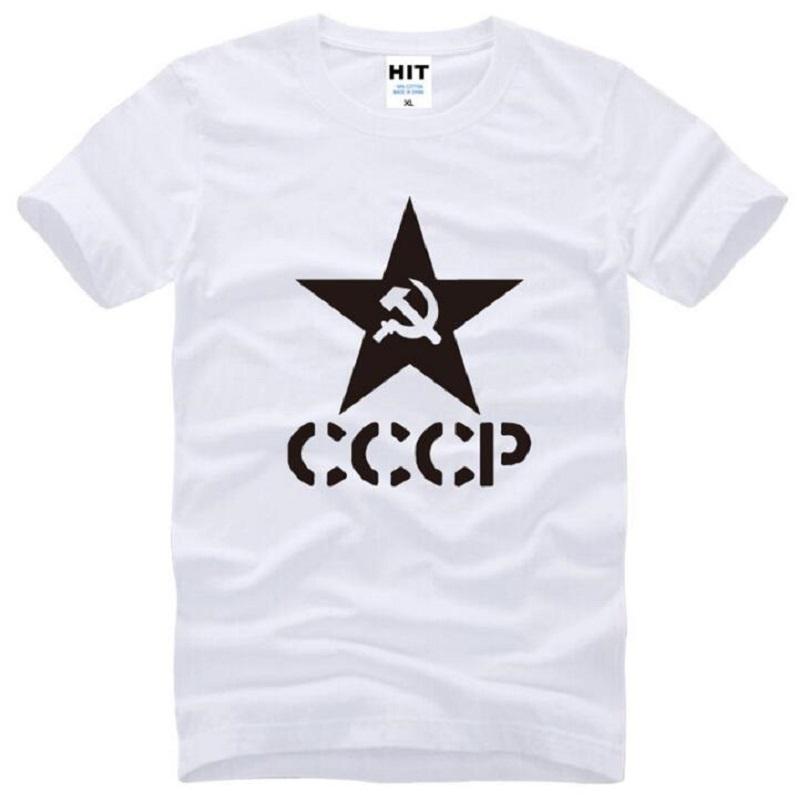 Nueva URSS Unión Soviética KGB Camisetas Hombre Algodón de manga corta con cuello en O Impreso CCCP Camiseta de Hombre Moda CCCP Conmemorar Tops Tees