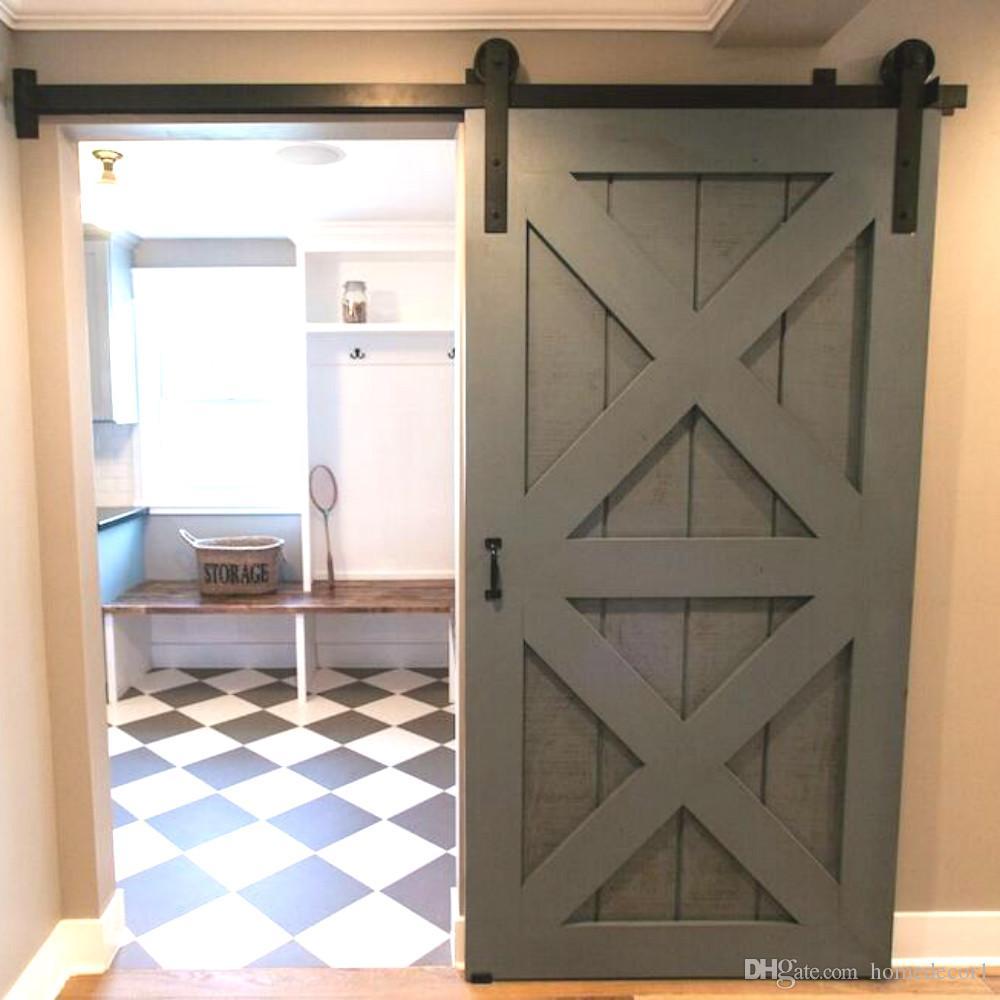 4ft 5ft6ft66ft 8ft Black Rustic Steel Sliding Barn Wood Door