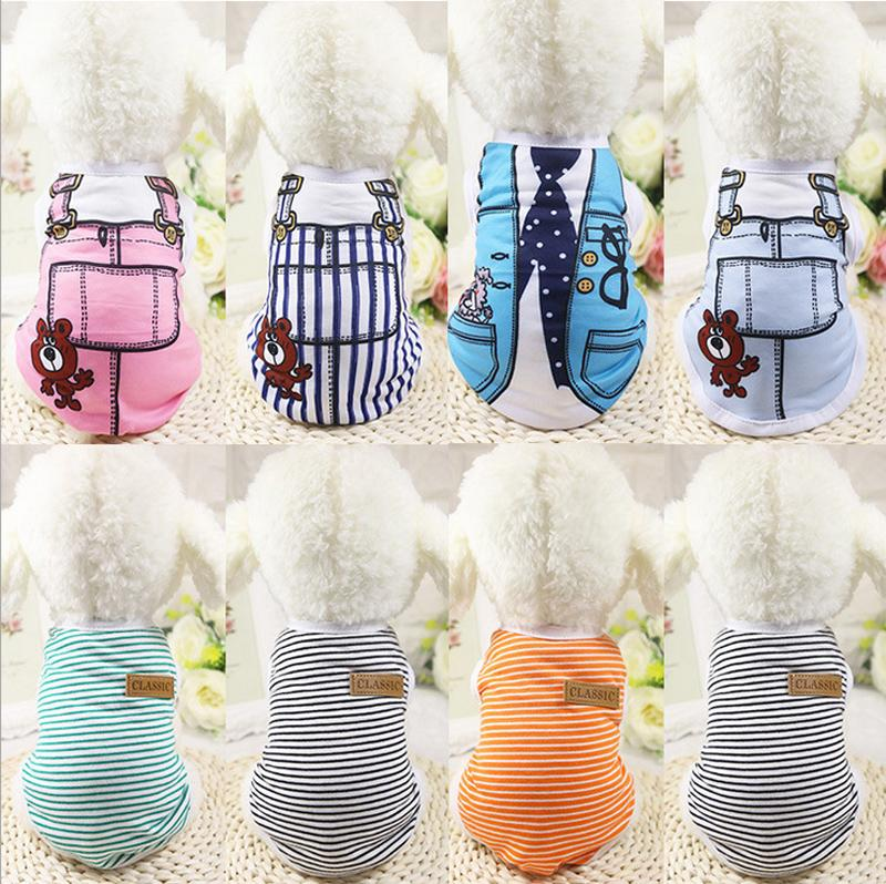 Pet dog apparel T Shirt shirts Dress Vest Summer Spring large dog clothes Outfits Vest Rompers Teddy Clothes