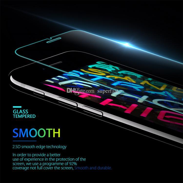 Vidrio templado para el iPhone SE 2020 Samsung A20 A70 A50 LG Stylo 5 Huawei P40 protector de la pantalla de cine Protector 0.33mm paquete individual