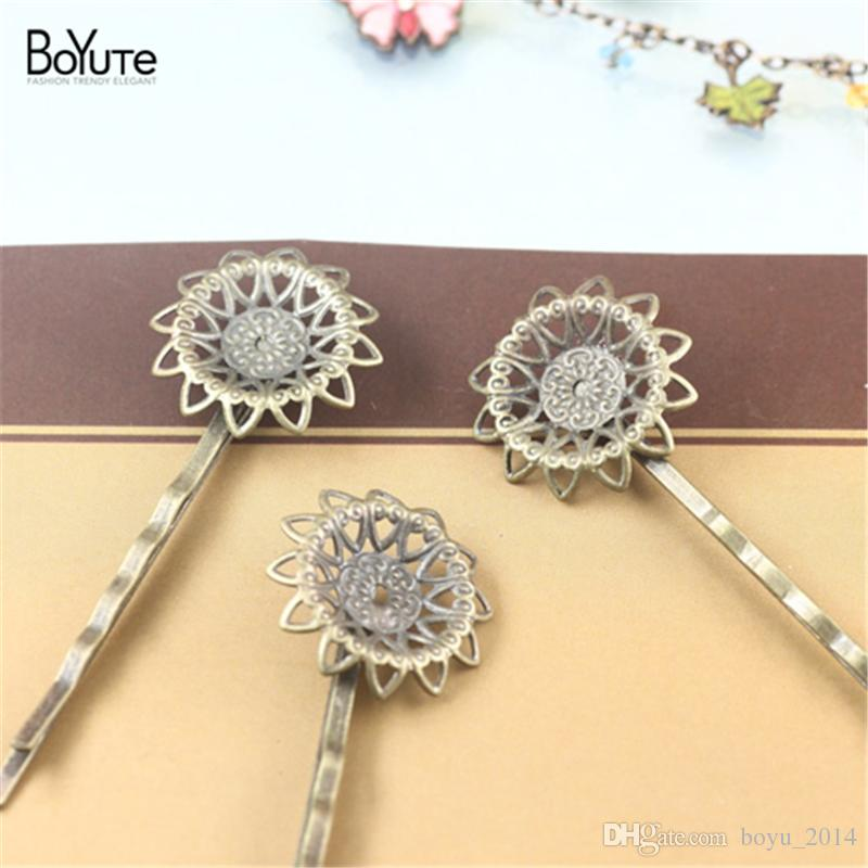 BoYuTe 21MM HOT Sale Filigree Flower Hair Jewelry Plated Hair Clips for women