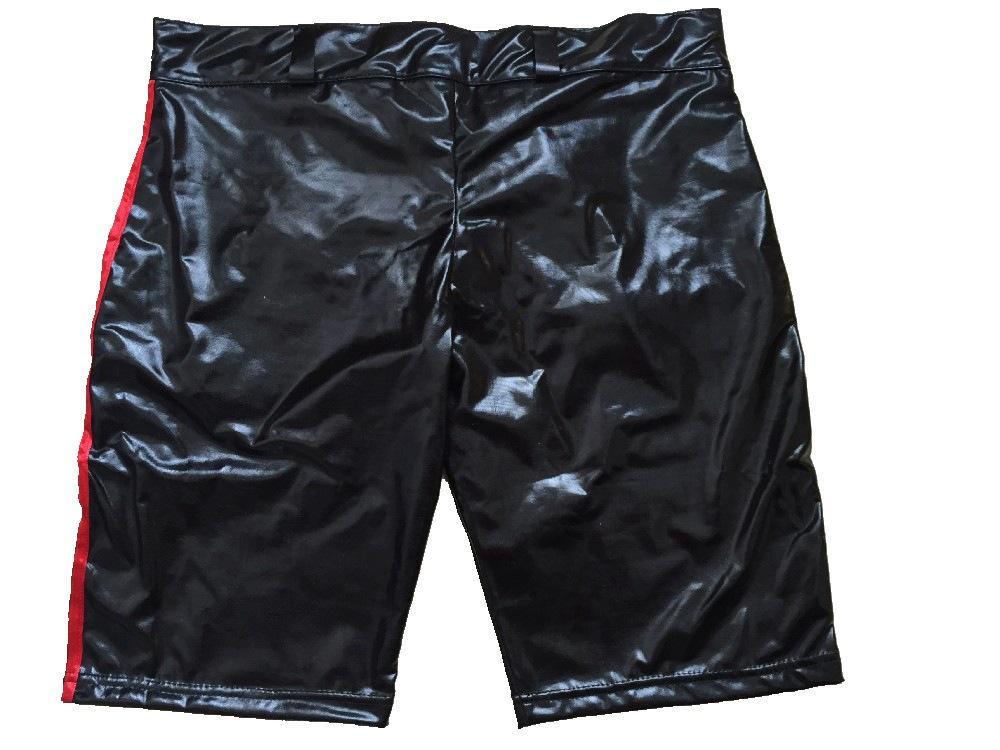 Vinyl Leather Wet Look Fashion Zipper Front Sexy Black Men Boxers Solid Pants Item No :W880573