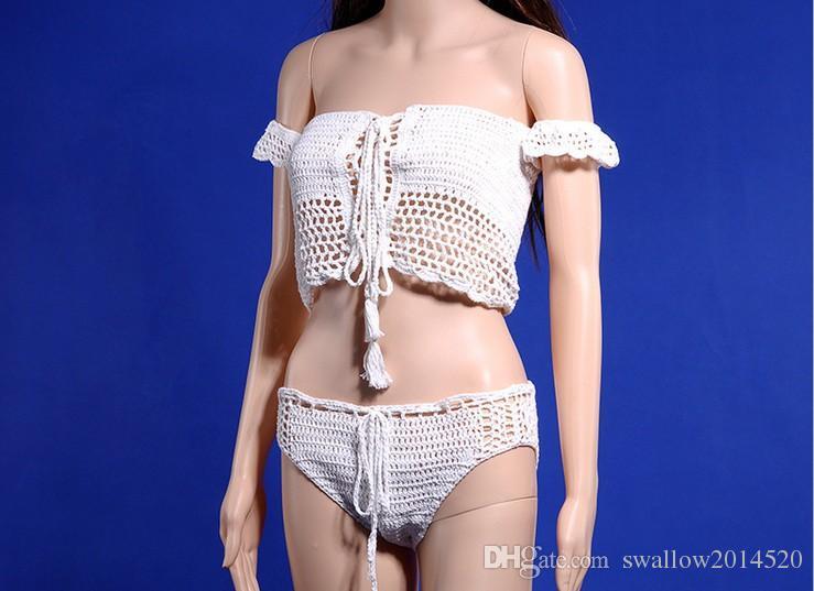 Sexy Knitted Crochet White Crop Tops Bikini Beachwear 90's Girls Casual Lace Up Off Shoulder Bikini Bra Tank Top Cropped