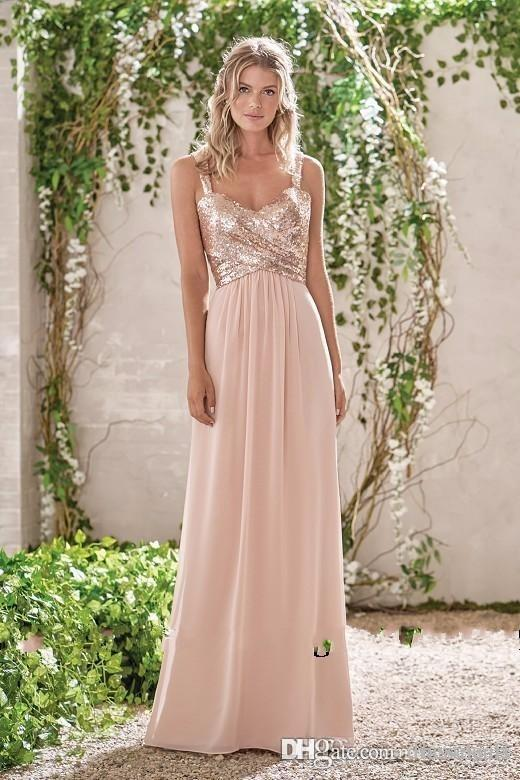 New Rose Gold Bridesmaid Dresses A Line Spaghetti Backless Sequins Chiffon Cheap Long Beach Wedding Guest Dress Maid of Honor Gowns BM0153
