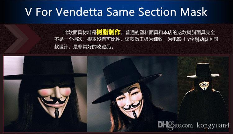 Hohe Qualität V Für Vendetta Maske Harz Sammeln Wohnkultur Party masken Cosplay Linsen Anonyme Maske Guy Fawkes