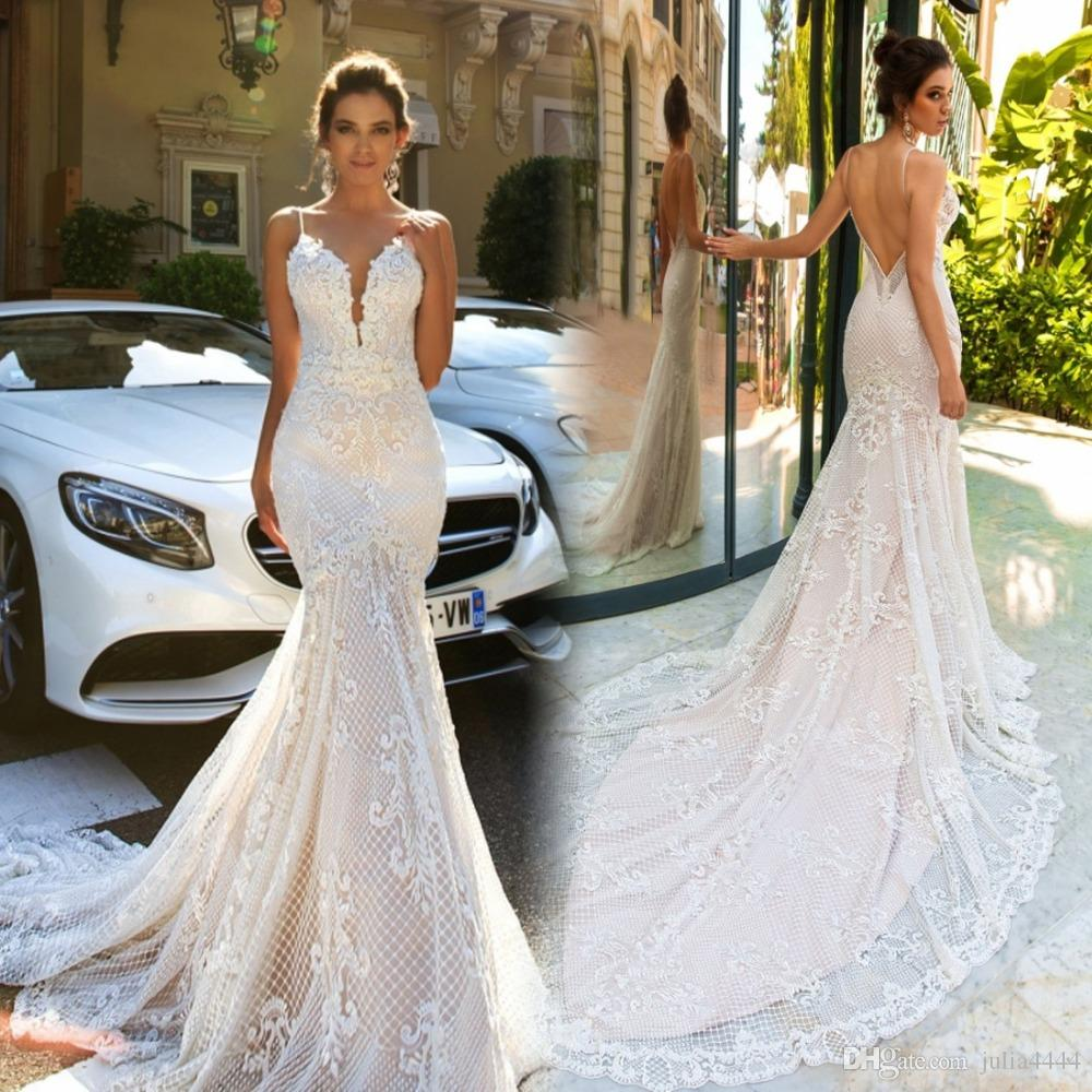 Pallas Couture Vestidos De Novia 2017 Mermaid Wedding Dresses Sleeveless Sheer Neck Lace Mesh Applique Beach Country Gowns