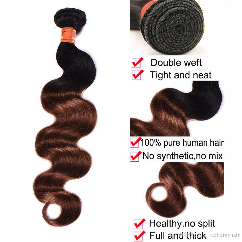 Yeni Stil Brezilyalı Ombre Vücut Dalga İnsan Saç Demetleri Renkli 1B / 30 Brezilyalı Ombre Kumral Kahverengi Bakire Saç Örgü Uzantıları