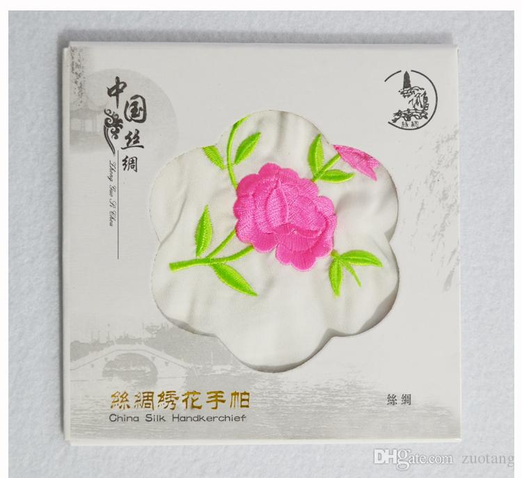 Уникальный белый вышитые шелковый платок взрослых женщин небольшой площади полотенце китайский этнических ремесел подарок 10 шт. / лот бесплатная доставка