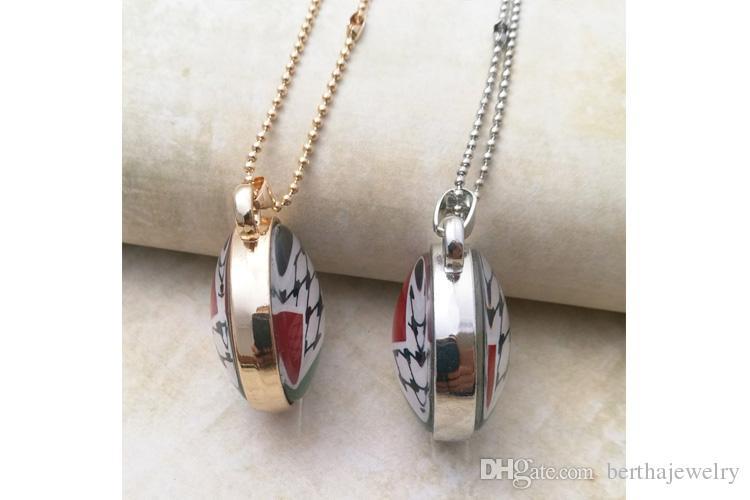 Double chaîne clé pendentif en verre face dragon HD photo bijoux collier bon cadeau à votre ami