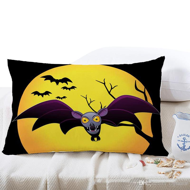 Halloween Spooky Pattern Linen Cushion Cover Home Office Sofa Car Rectangle Pillow Case Decorative Cushion Covers Pillowcases Without Insert