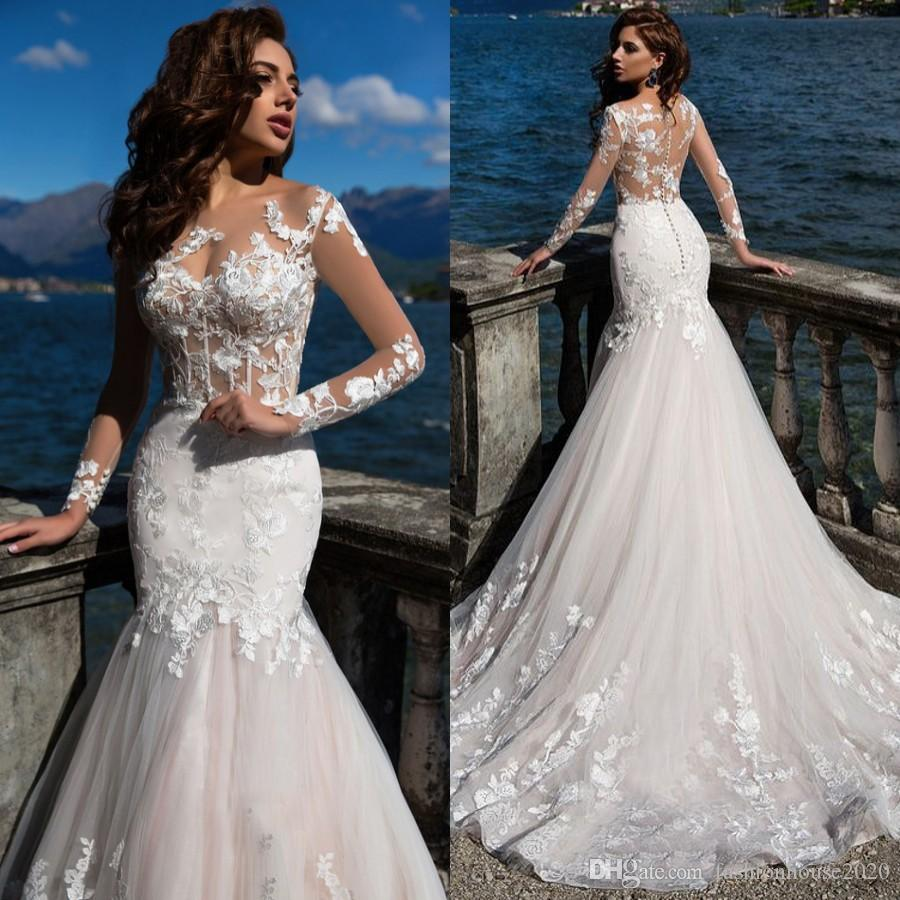 Mermaid Wedding Dresses With Sleeves: Ivory Long Sleeve Lace Mermaid Wedding Dresses Appliques