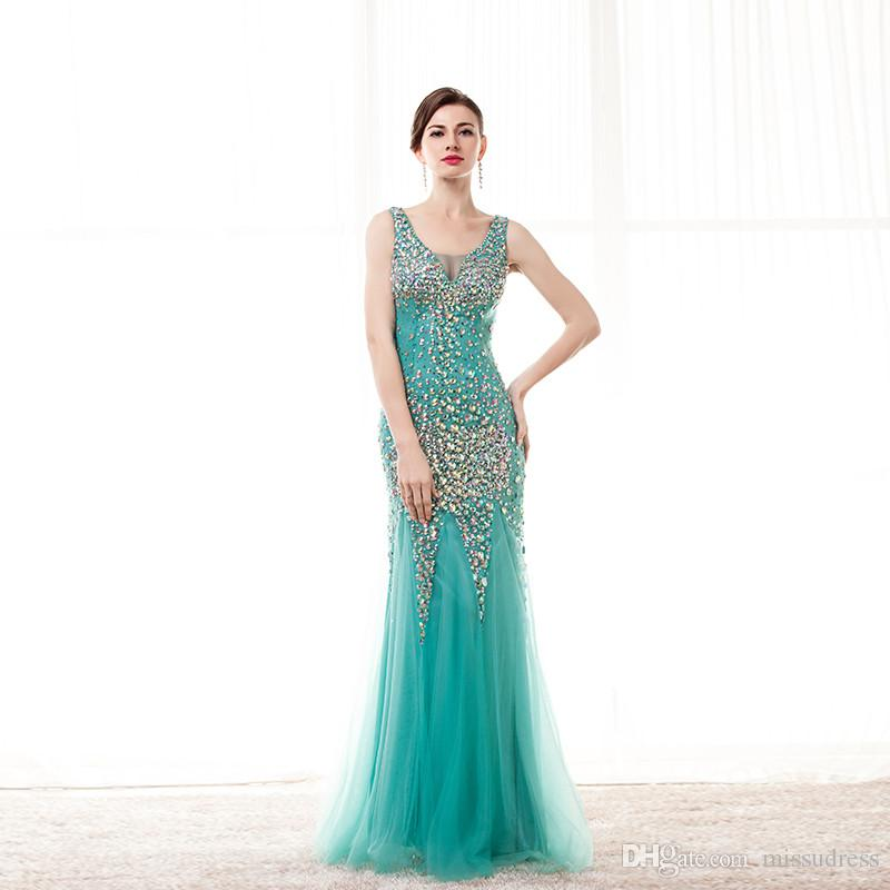 Cristal vert brillant robes de bal v-cou perlé tulle sexy pure dos robes de soirée formelles sirène robe de bal sirène style 2017