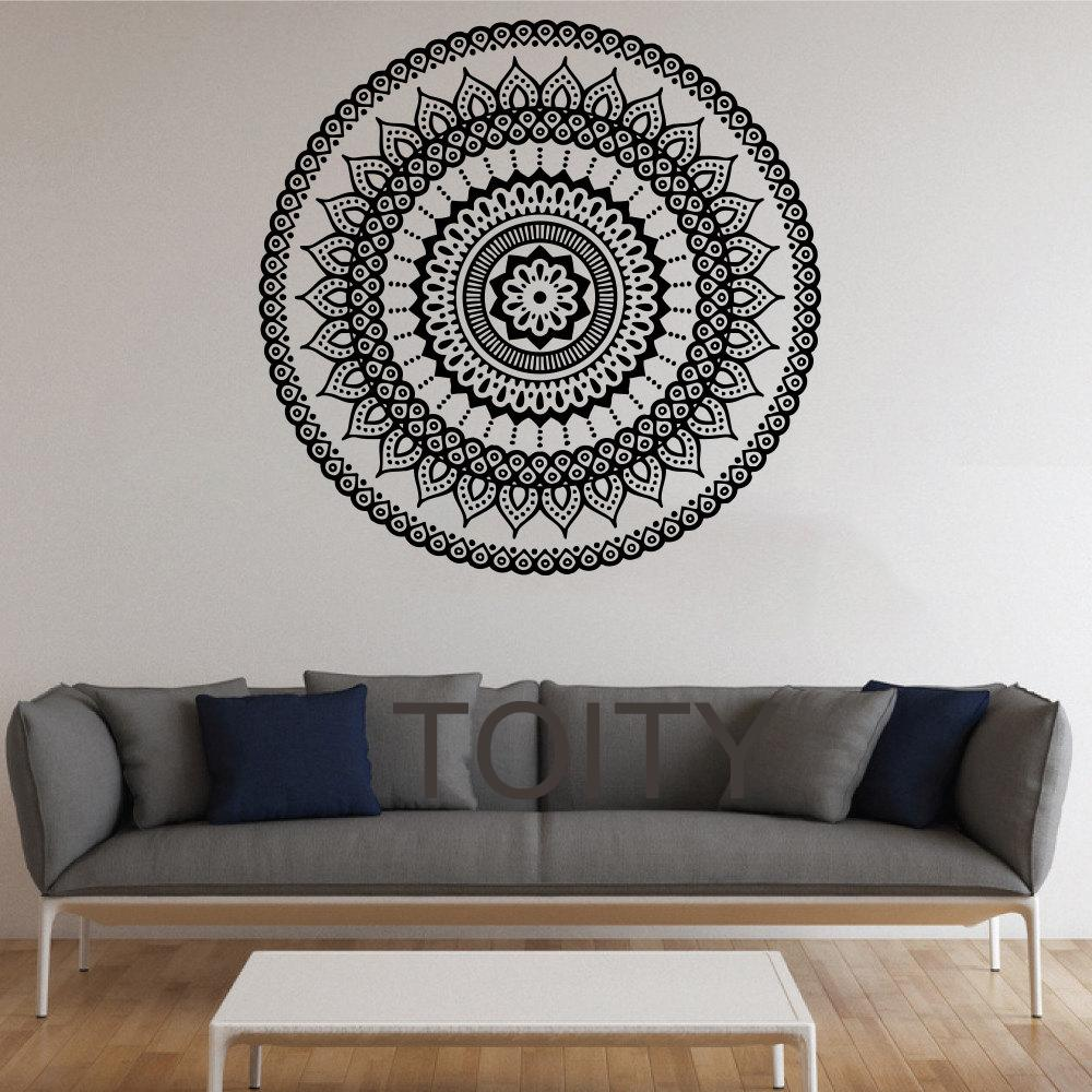 Mandala wall stickers indian round pattern symbol vinyl decal mandala wall stickers indian round pattern symbol vinyl decal namaste yoga art decor home office gym dorm club dining room mural wall decals and murals wall amipublicfo Images