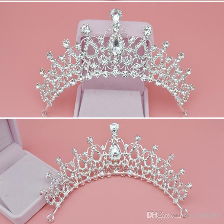 Economici Diademi di cristallo Corona di cristallo Accessori da sposa Barocche corone della regina Accessori capelli di cristallo Jewelry di ragazze Corona di compleanno di ragazze