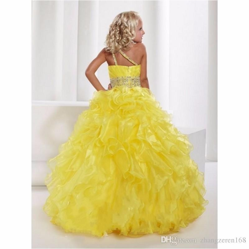 Vendita calda bella giallo senza maniche Scoop Flower Girl Dresses Beading Ruffles pavimento-lunghezza abito da ballo spettacolo Pageant su misura