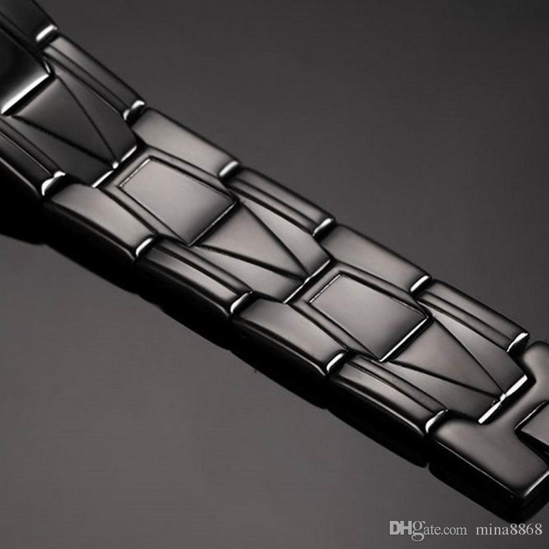 Wholesale Men's Bracelet 21CM Black Color Tiny Link Chain Charm Bracelets Bangles Cool Stainless Steel Bracelets Male Jewelry Gift