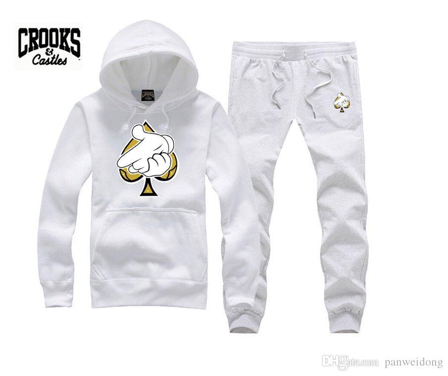 Crooks and CastlesBrand Desinge Crooks and Castles Sudaderas con capucha Sudaderas para hombre Negro Espesar Streetwear Hombre Hip Hop Sudaderas con cuello redondo Suda