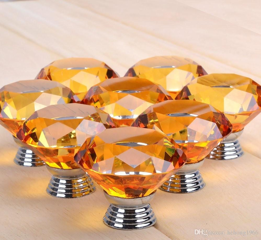 Transparent 30mm Pull Handle Diamond Crystal Doorknob Glass Cabinet Knob Drawer Shiny Polished Chrome Door Handles For Wardrobe 1 5jxR