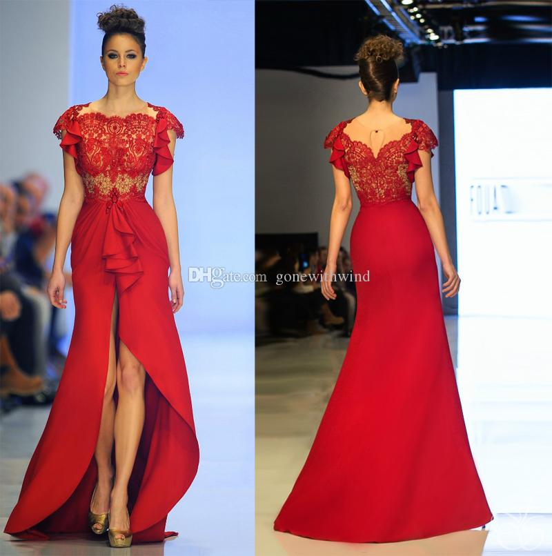 2017 Split Prom Dresses For Evening Lace Bodice With Satin Skirt ...