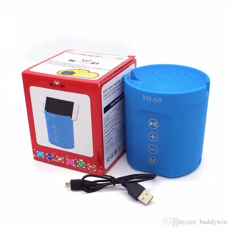 Bluetooth Mini Speaker KH-68 Wireless Portable Speakers Support USB Flash Drive TF Card FM Radio Cell Phone Holder With Retail Box Free DHL