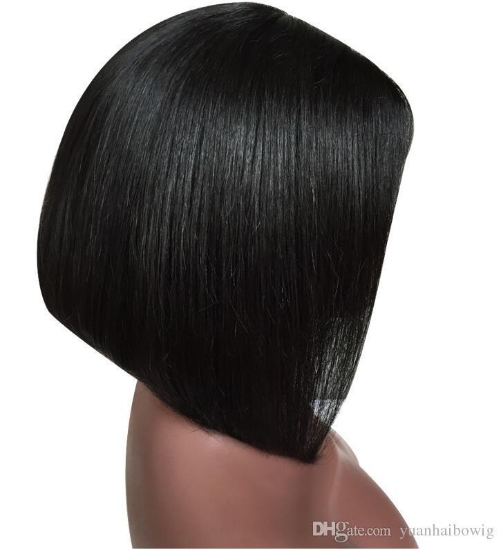 Perruques de cheveux humains avant de dentelle à la mode Bob Glueless Perruques de cheveux vierge pleine de cheveux péruviens avec des cheveux de bébé pour les femmes noires