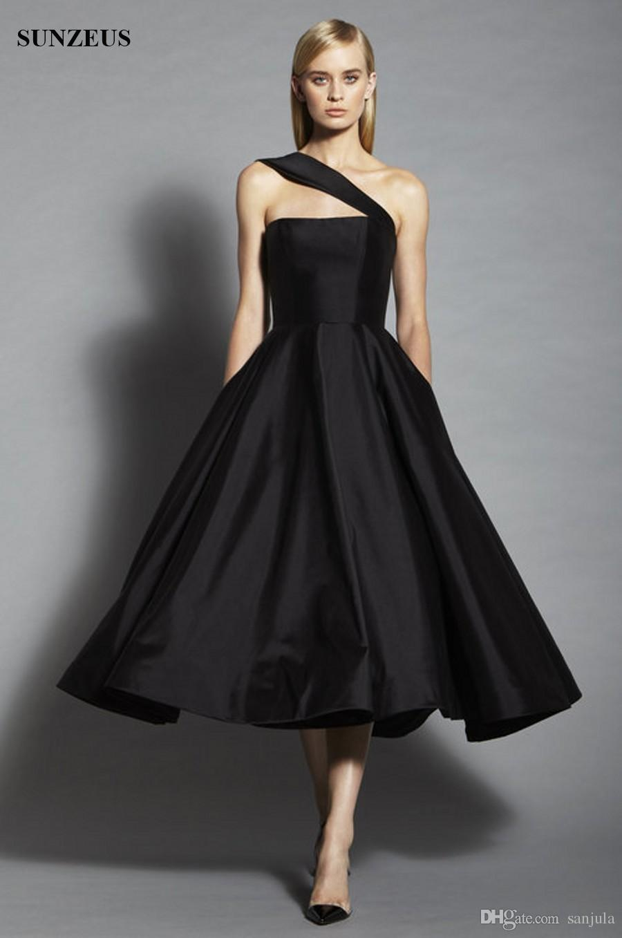 One Shoulder Black Tea Length Evening Dress Short Satin Designer ...