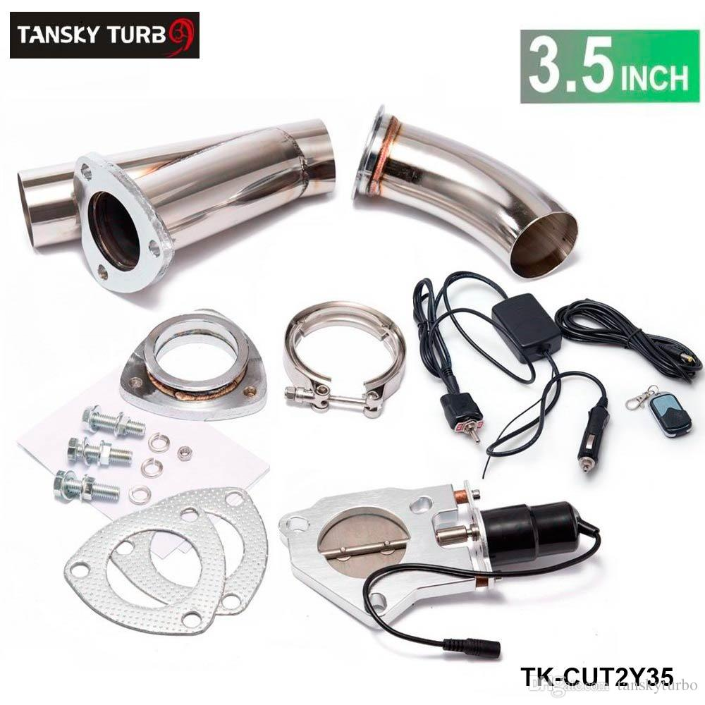 "TANSKY - Electric 3.5"" Exhaust Catback Cutout W/Switch /Remote /Switch+Remote Downpipe Cut out Valve System Kit"