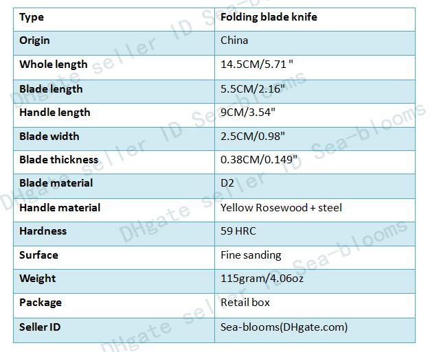 2016 Pequeño Navaja Cuchillo Plegable D2 Acero 59HRC Hoja Rosewood Manija EDC Pocket Survival Táctico Que Acampa Cuchillo Al Aire Libre Gear F924L