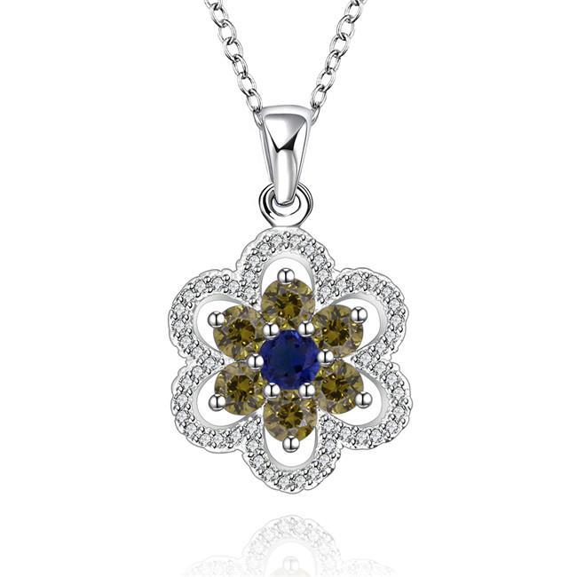 miglior regalo Collana con gioielli in argento sterling con fiore blu con diamante blu donna WN554, belle collane con pendente in argento 925 con catena