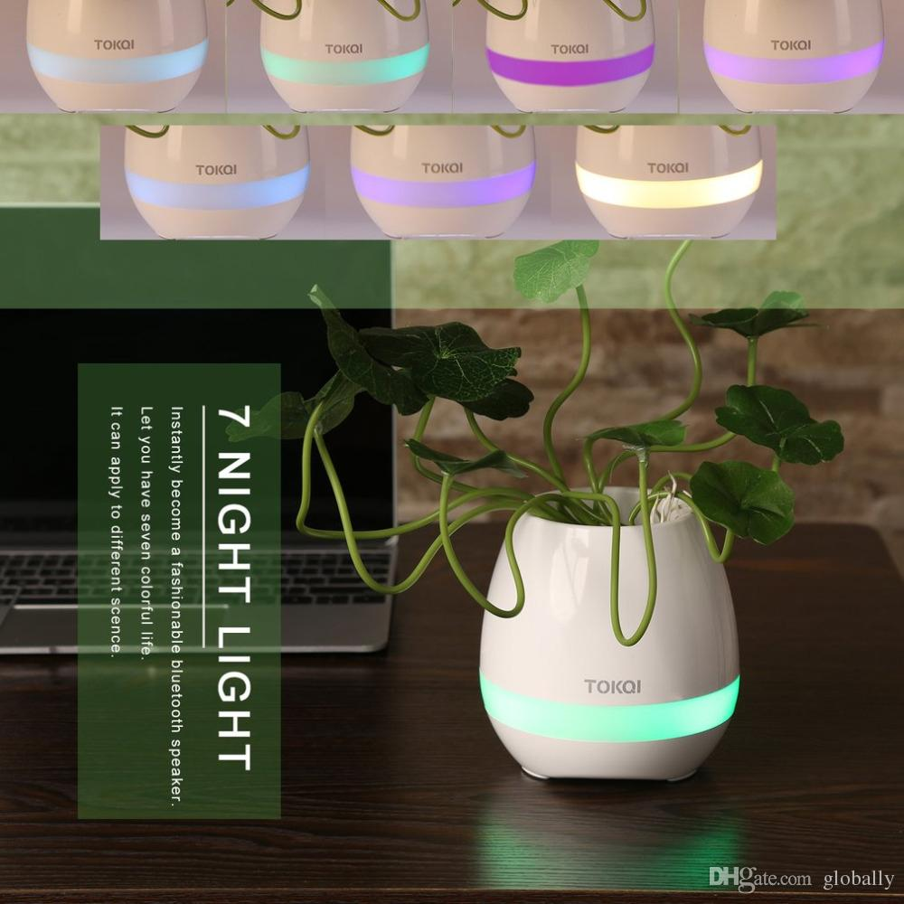 USB Charge Smart Music Flower Pots Bluetooth Speaker LED Decoration Night Light Touch Sensors Stress Relief Toy for Child Gift