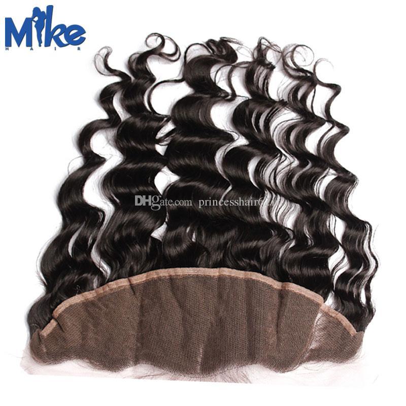 Mikehair Brasileño Cordón de pelo Frontal al por mayor Cierre del cabello humano Cierre de cuerpo recto Wave de tejido profundo Kinky Rizado Oreja a oreja Cierre frontal de encaje