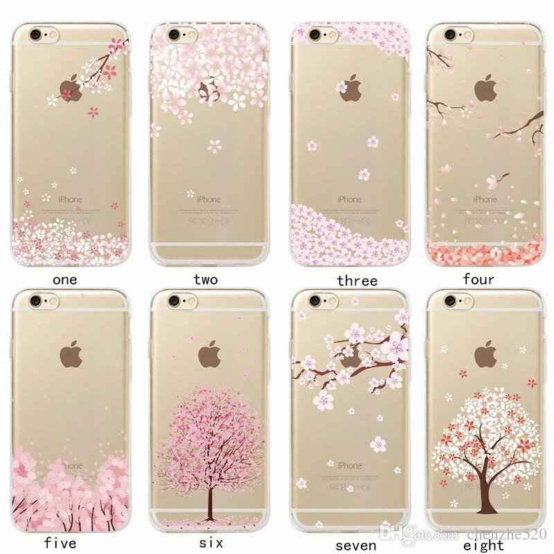 For iPhone 6 6S 6Plus 7 7Plus 5 5S SAMSUNG Cherries Peach Blossom Floral Cat Spring Romantic Girl Pattern Soft Case Fundas Coque