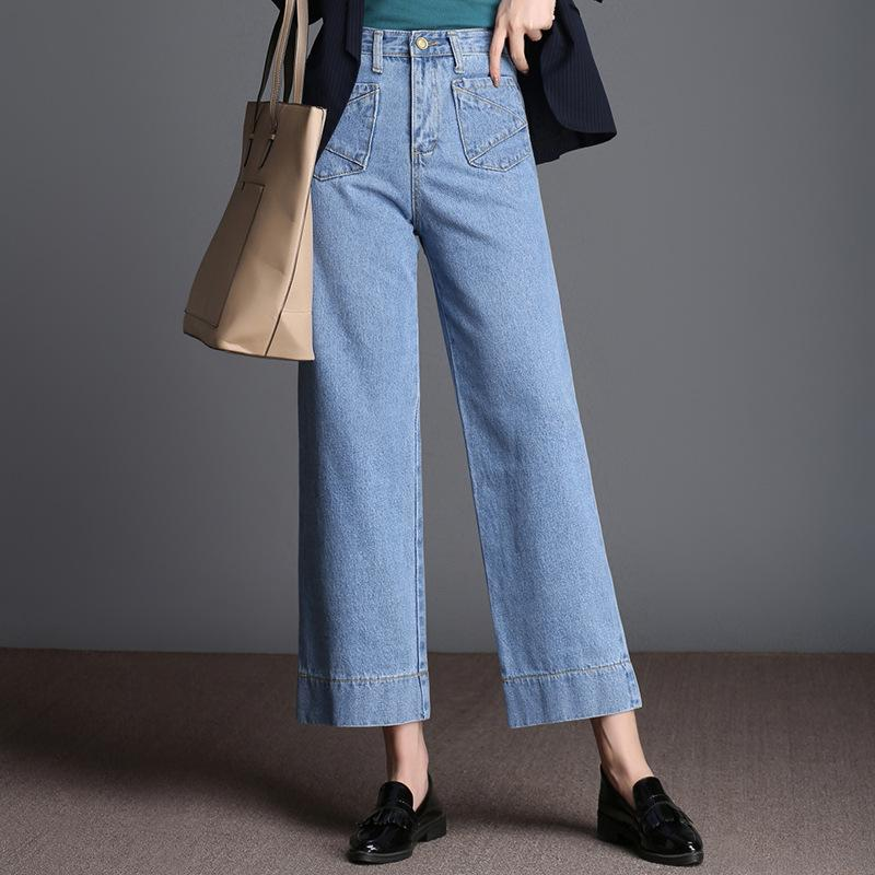 8b4a0b829536 Fashion wide leg pants cowgirl nine pants waist size loose spring skinny  jeans casual straight jeans