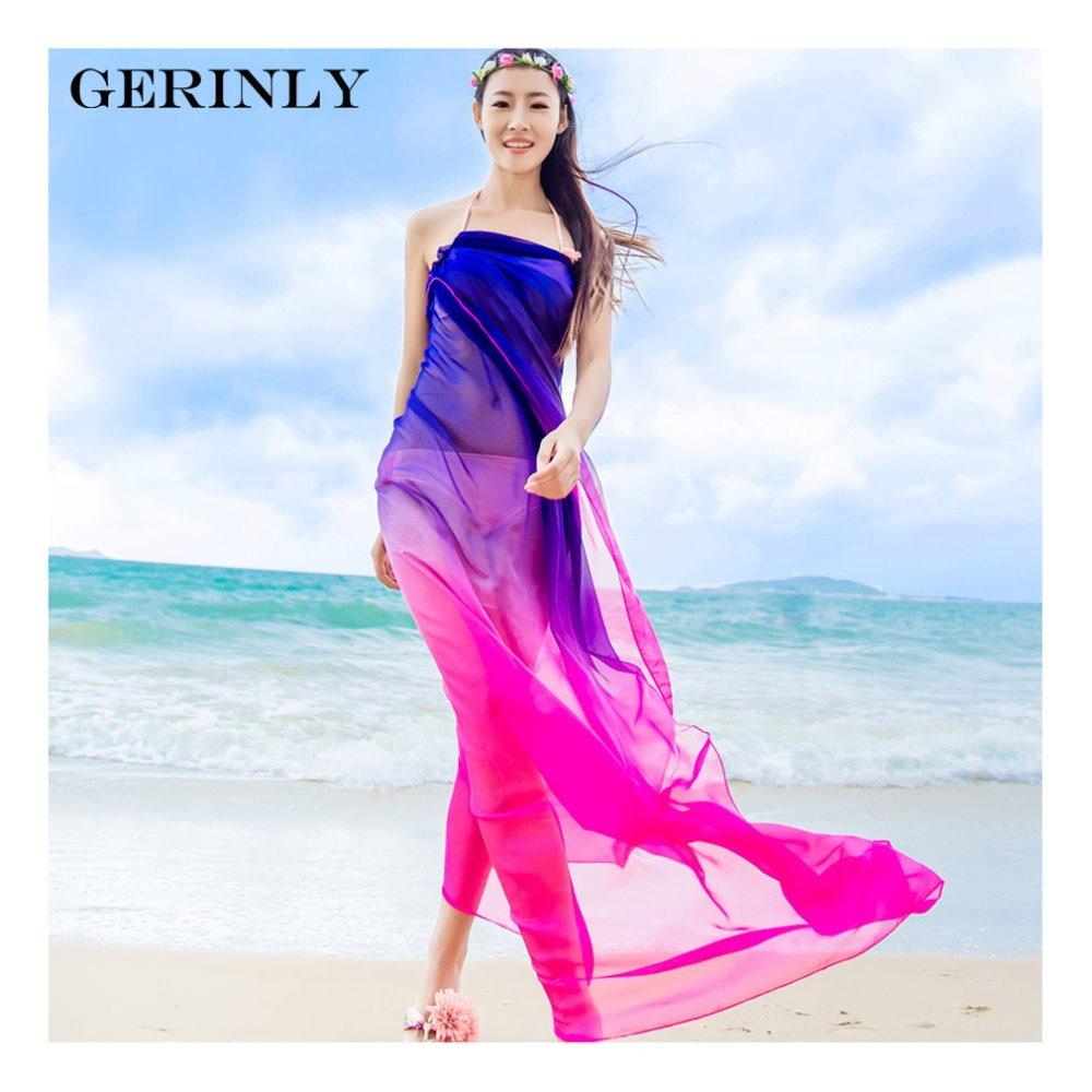 06053c40a0918 Wholesale Scarves Beach Pareo Summer Women Two Tone Chiffon Shawls Scarf  High Fashion 2017 Swimwear Bikini Cover Up Hawaiian Sarong Dress Head Wrap  Snood ...