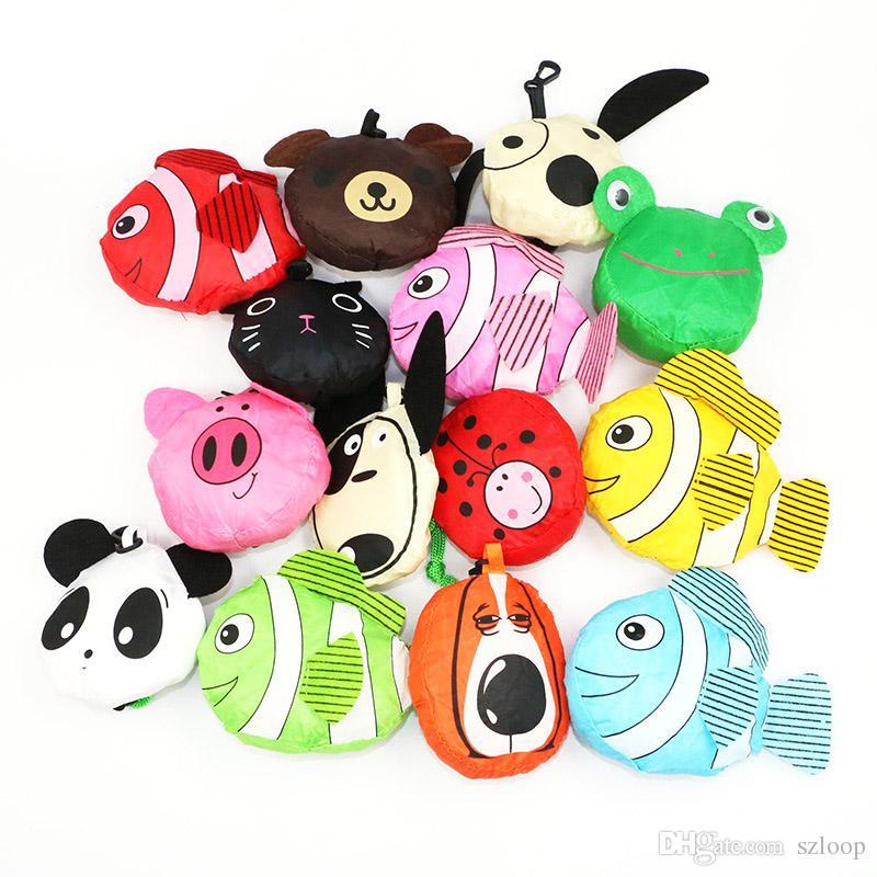 Cute Useful Animal Bee Panda Pig Dog Rabbit Foldable Eco Reusable Handbag Cartoon Animal Shopping Bags 3002011