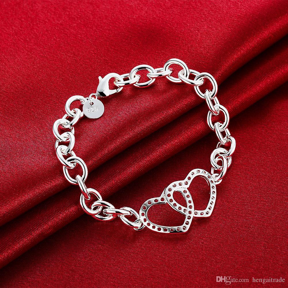 Wholesale 925 Sterling silver plated Lobster-claw-clasps charm bracelets LKNSPCH316
