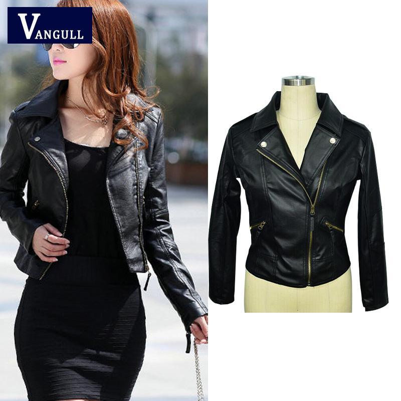 3249ff65b78 Осень-весна короткая мода кожаная куртка Женщины Повседневная пальто  мотоцикл куртка искусственная кожа одежда плюс размер дамы пиджаки
