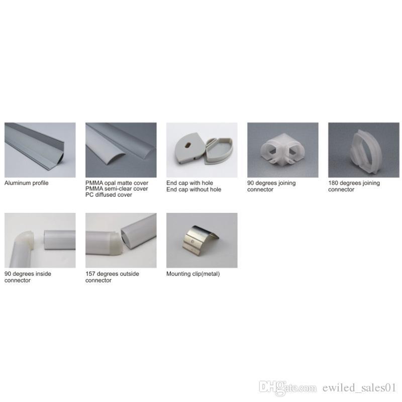 10 X 1M sets / lote 60 ángulo de tira de luz LED canal de aluminio y perfil de aluminio led para lámparas de cocina o gabinete