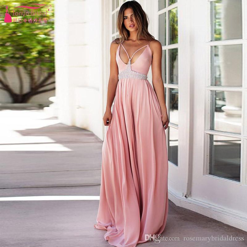 449ff66c99ca Pink A Line Chffon Sexy Prom Dresses Spaghetti Strap V Neck Crystal Soft  Evening Dresses Vestido De Festa Cheap Gowns Short Tight Prom Dresses  Strapless ...