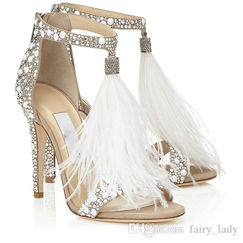High End Bling 2017 T Strap Wedding Shoes With Tassels Rhinestone Crystal Summer Sandals Women Pumps Party Prom Gowns Flat Gold From Fairy Lady