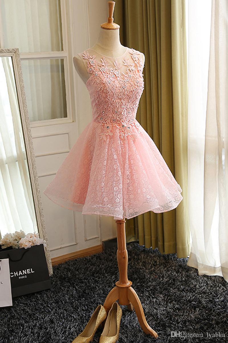Großhandel Kurze Rosa Prom Kleider Robe De Soiree Vintage Eine Linie ...