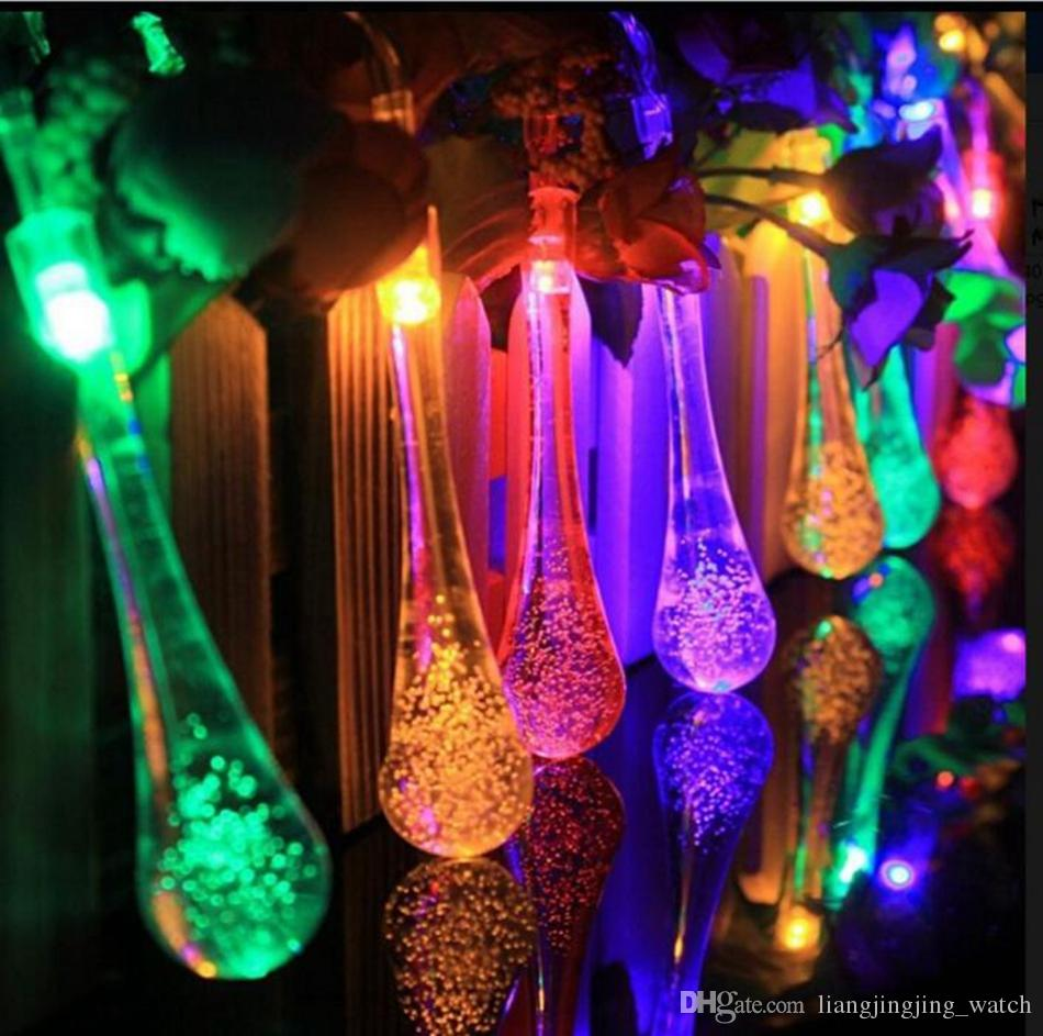 Clear Water Drop String Lights 4.8m 20 LED Solar Powered LED 3D Wedding Patio Yard Decor OOA3131