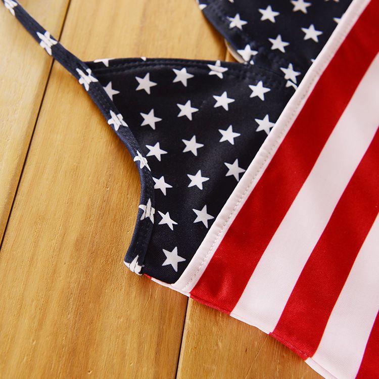 American Flag Baby Bikini One-piece Swimsuit Newborn Infant Girls' Bathing Stars And Stripes Swimwear Camisole Polyester Elastic