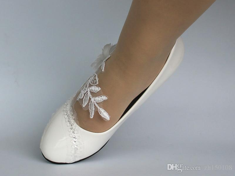 476eb50558b 2017 Lace White Ivory Crystal Sequin Daisy Wedding Shoes Bride Low Wedges  Size 5 9 Dyos Bridal Shoes Liz Rene Bridal Shoes From Zh150108