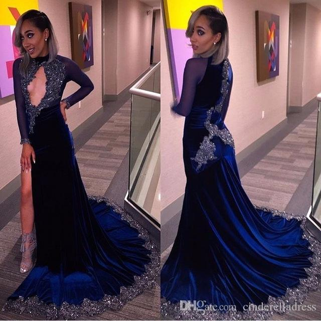 Vintage Prom Dresses Navy Blue Velvet 2017 Formal Evening Dress Party Gown Pageant Dress Mermaid High Neck Keyhole Beads Black Girl BA4812