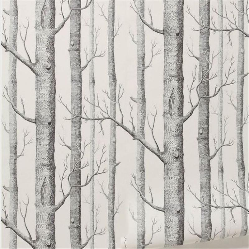 Top Wholesale Birch Tree Pattern Non Woven Woods Wallpaper Roll Modern  BH45