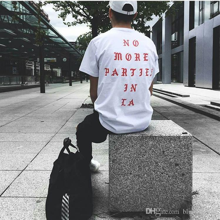 Mens Summer Tees Kanye West No More Parties in LA Letter printed Short Sleeve Shirt Men Designer Cotton T-shirt Clothing S-3XL