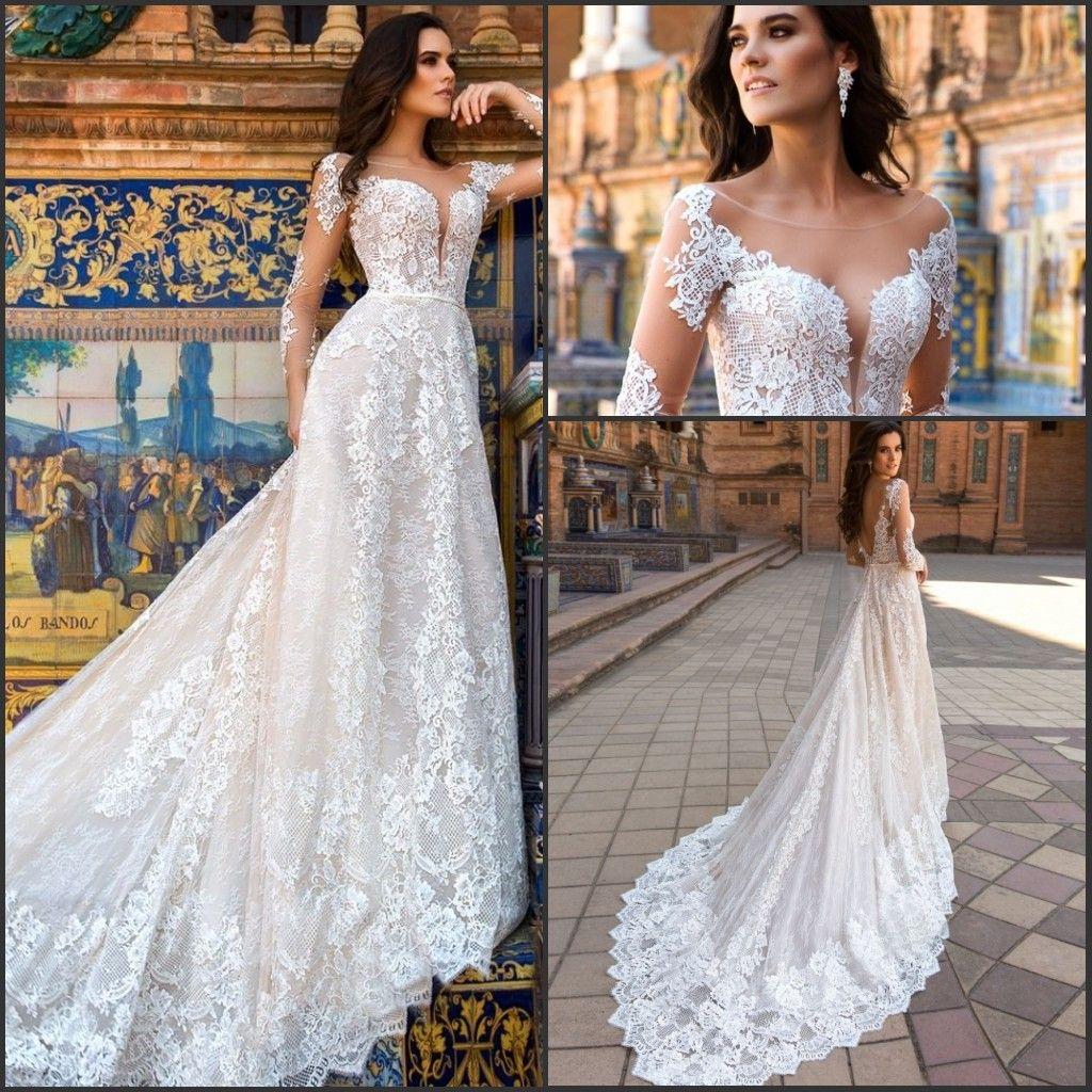 Discount Sheer Long Sleeve Elegant Lace Wedding Dresses